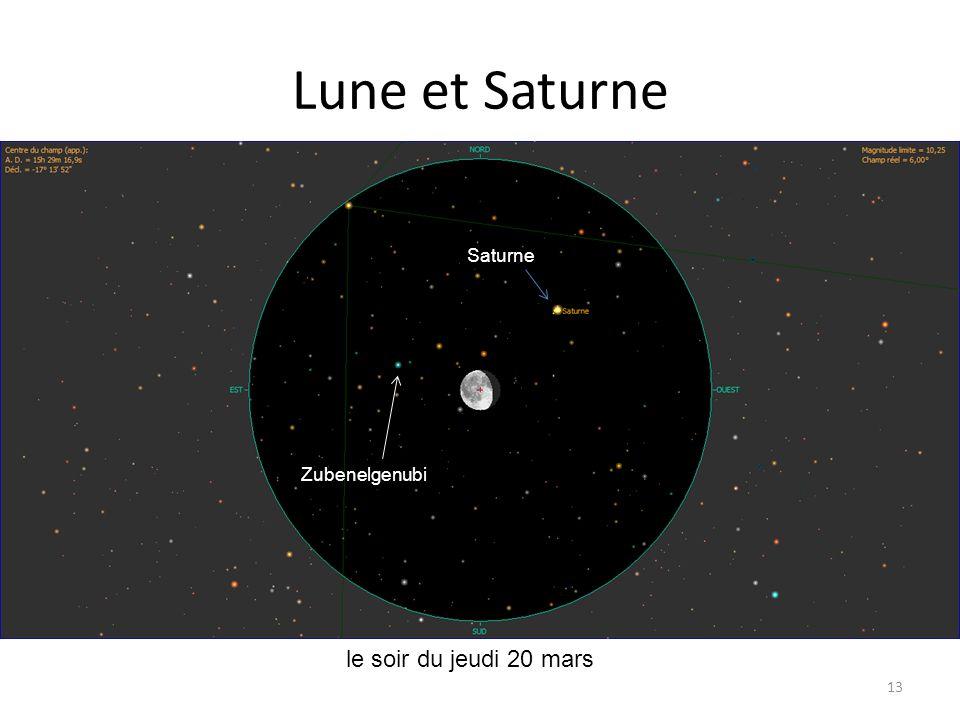 Lune et Saturne 13 le soir du jeudi 20 mars Mercure Saturne Lune Lambda Psc Epsilon Psc Kappa Cnc Saturne Zubenelgenubi