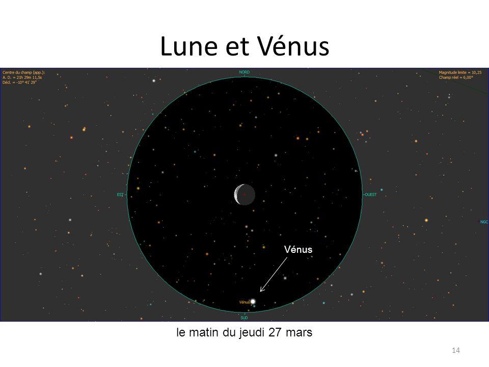 Lune et Vénus 14 Spica le matin du jeudi 27 mars Epsilon Tau Aldébaran Alpha 2 Lib Alpha 1 Lib Vénus