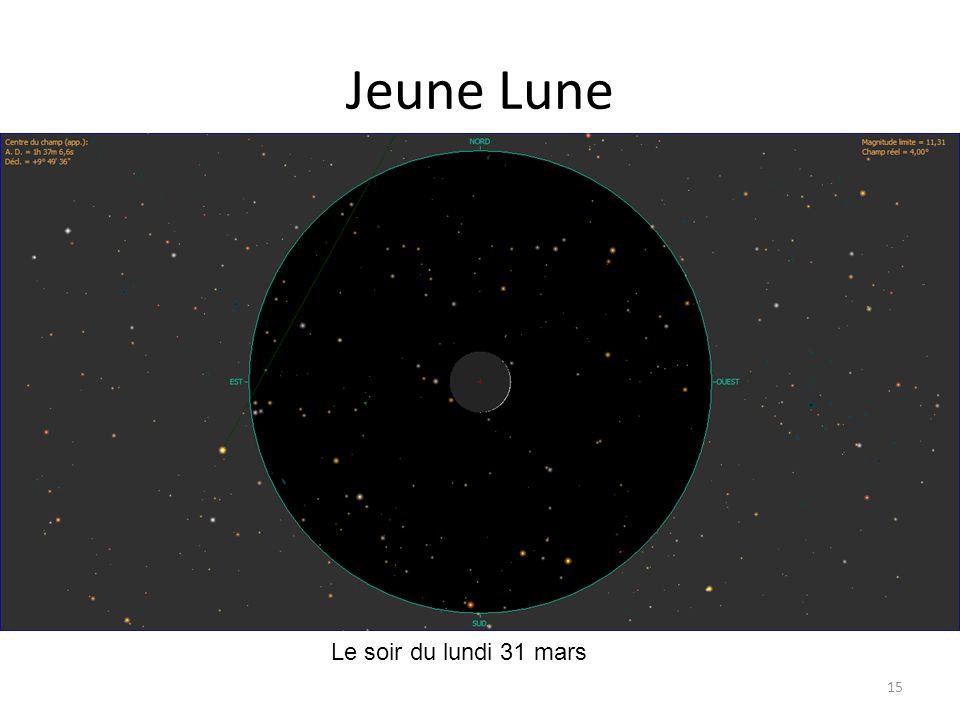 Jeune Lune 15 petit croissant Le soir du lundi 31 mars Mercure
