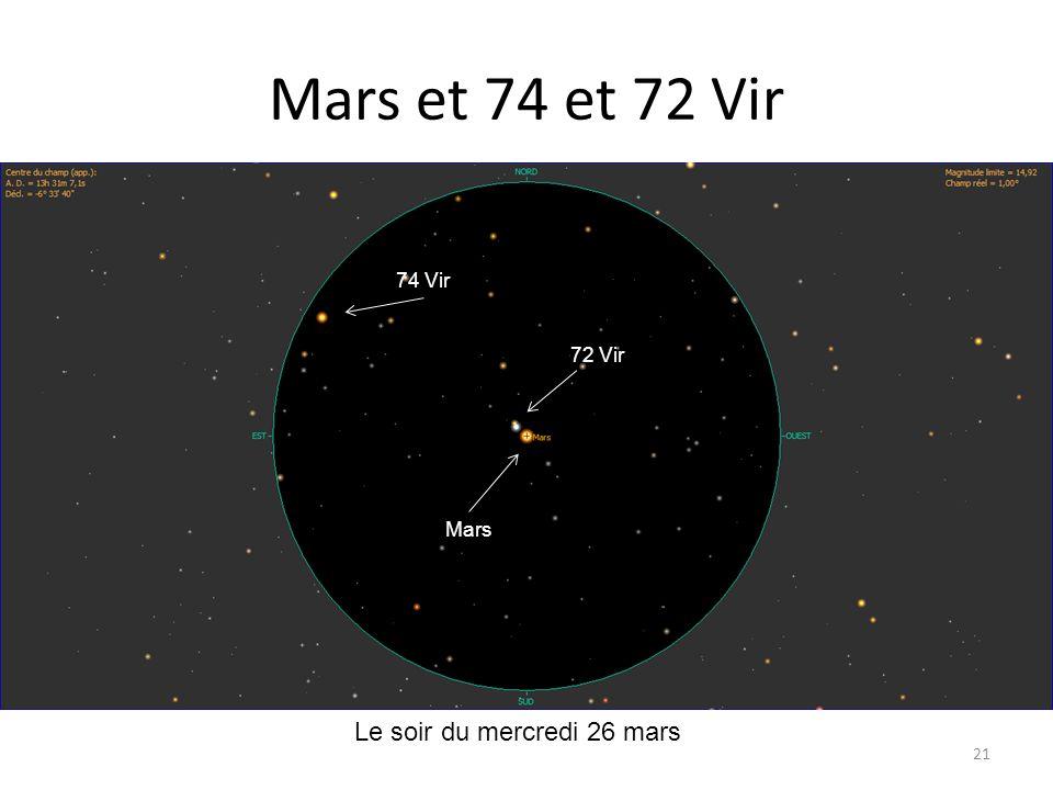 Mars et 74 et 72 Vir 21 Le soir du mercredi 26 mars 74 Vir 72 Vir Mars