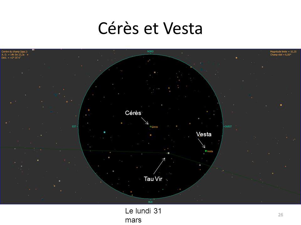 Cérès et Vesta 26 Cérès Vesta Le lundi 31 mars Tau Vir