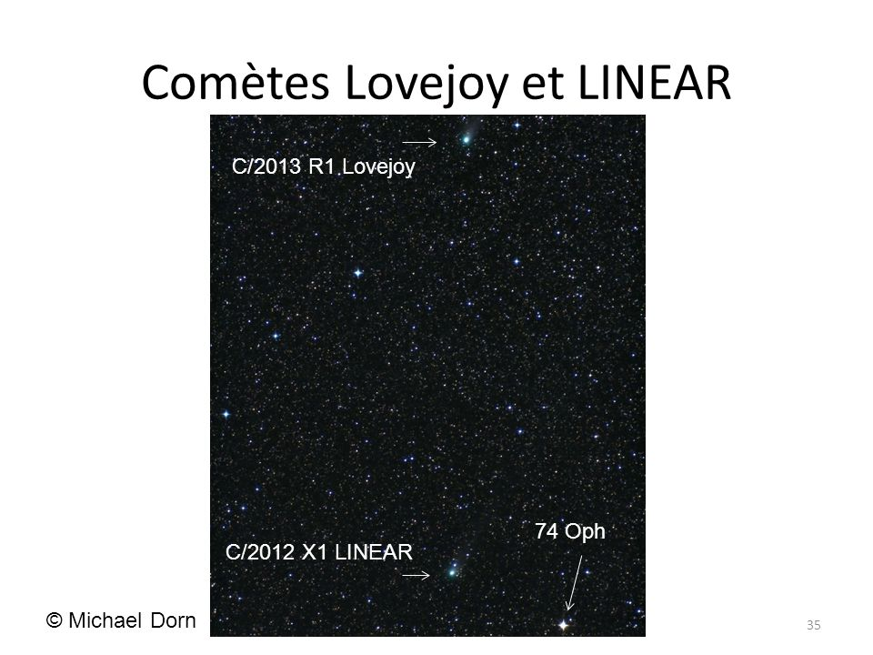 Comètes Lovejoy et LINEAR 35 C/2013 R1 Lovejoy C/2012 X1 LINEAR 74 Oph © Michael Dorn