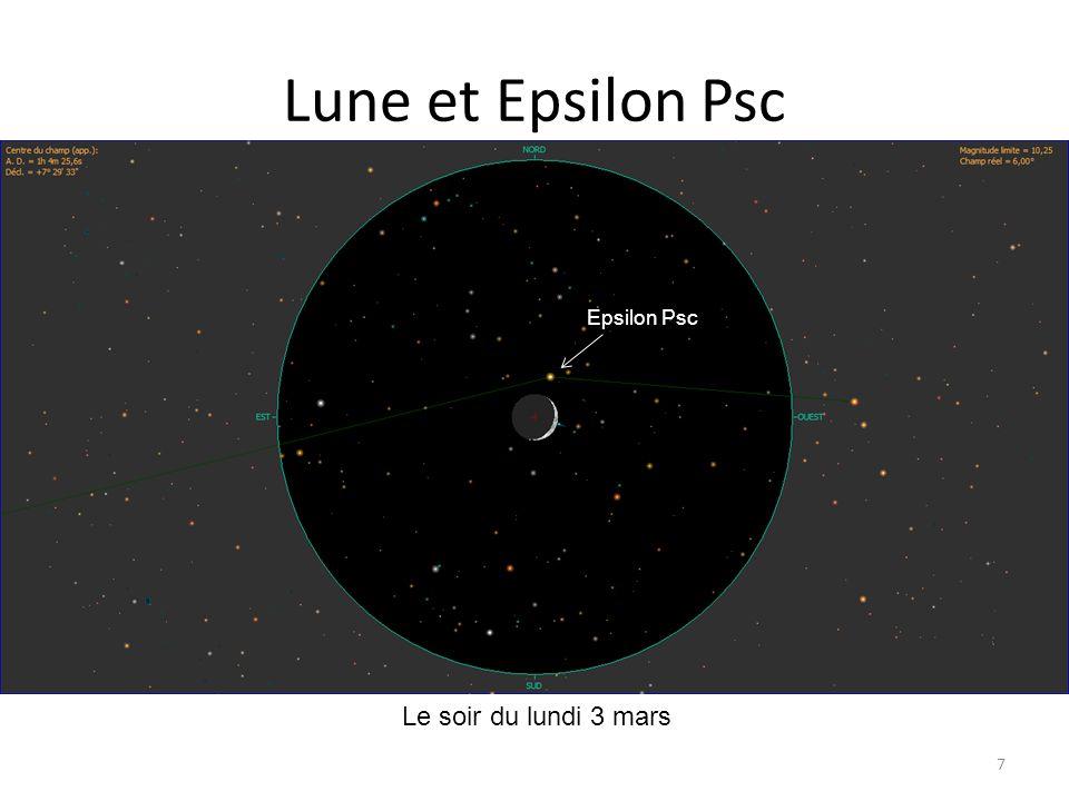 Lune et Epsilon Psc 7 petit croissant Mercure Le soir du lundi 3 mars Epsilon Psc