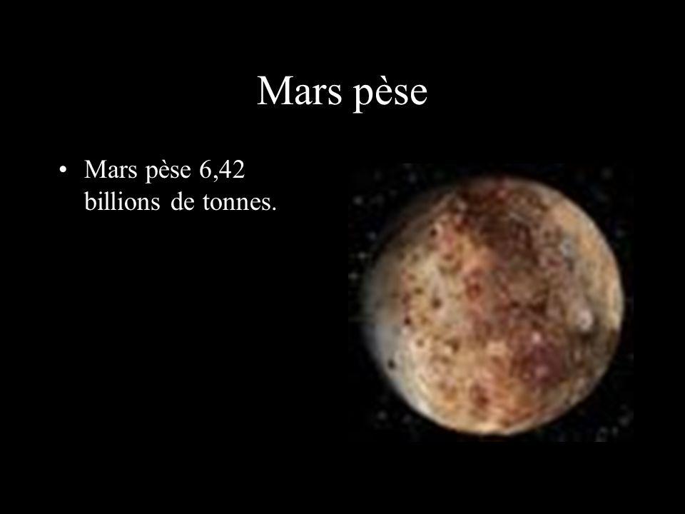 Mars pèse Mars pèse 6,42 billions de tonnes.