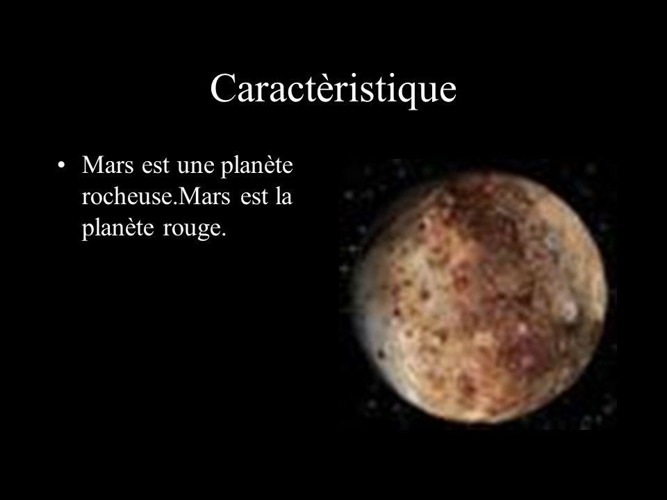 Caractèristique Mars est une planète rocheuse.Mars est la planète rouge.