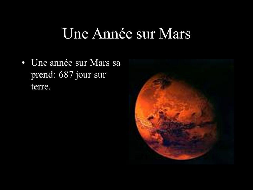 Une Année sur Mars Une année sur Mars sa prend: 687 jour sur terre.