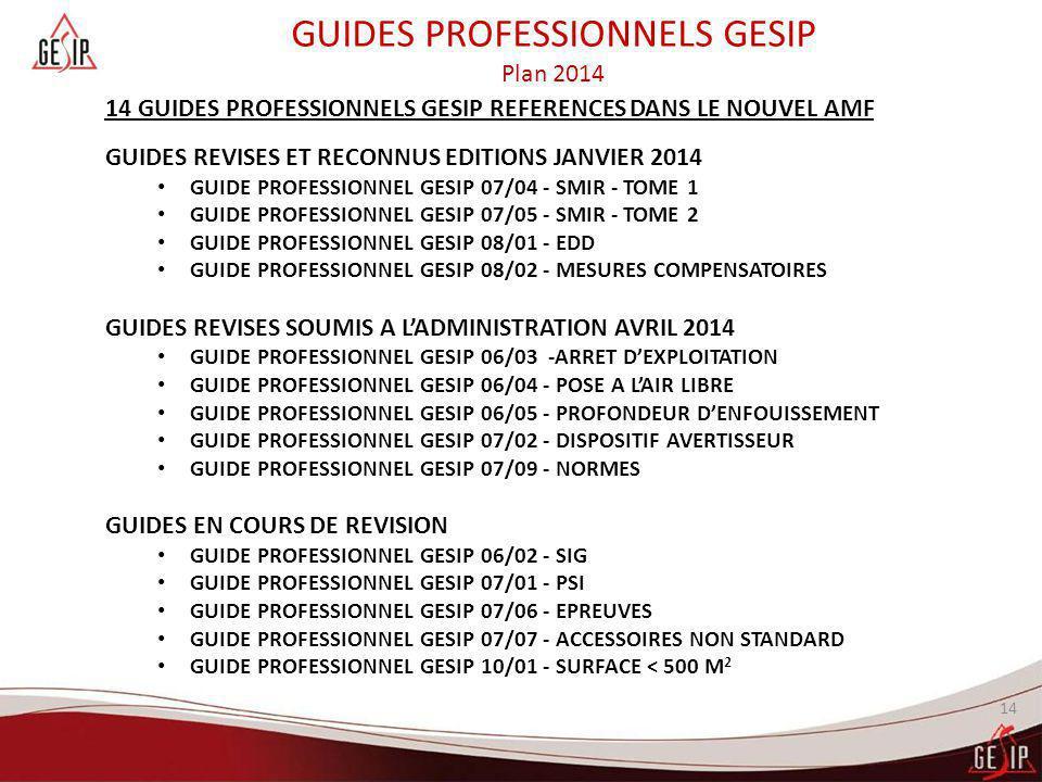 14 14 GUIDES PROFESSIONNELS GESIP REFERENCES DANS LE NOUVEL AMF GUIDES REVISES ET RECONNUS EDITIONS JANVIER 2014 GUIDE PROFESSIONNEL GESIP 07/04 - SMI