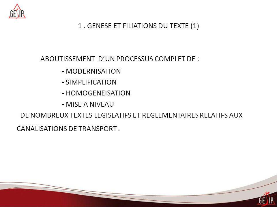 1. GENESE ET FILIATIONS DU TEXTE (1) ABOUTISSEMENT D'UN PROCESSUS COMPLET DE : - MODERNISATION - SIMPLIFICATION - HOMOGENEISATION - MISE A NIVEAU DE N