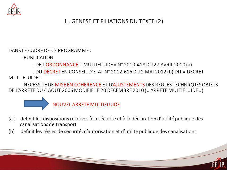 1. GENESE ET FILIATIONS DU TEXTE (2) DANS LE CADRE DE CE PROGRAMME : - PUBLICATION. DE L'ORDONNANCE « MULTIFLUIDE » N° 2010-418 DU 27 AVRIL 2010 (a).