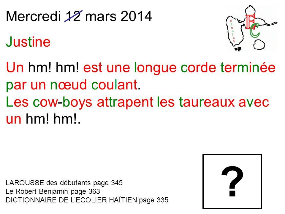 Mercredi 12 mars 2014 Justine Un hm. hm. est une longue corde terminée par un nœud coulant.