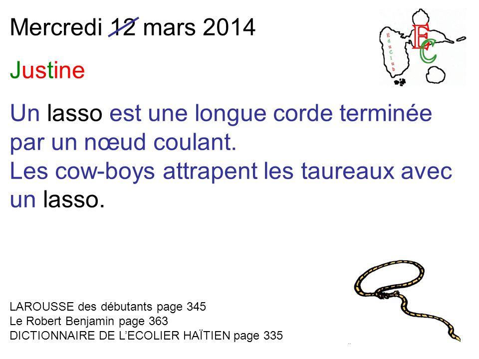 Mercredi 12 mars 2014 Justine Un lasso est une longue corde terminée par un nœud coulant.
