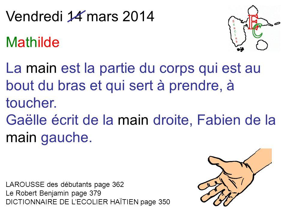 Vendredi 14 mars 2014 Mathilde La main est la partie du corps qui est au bout du bras et qui sert à prendre, à toucher.
