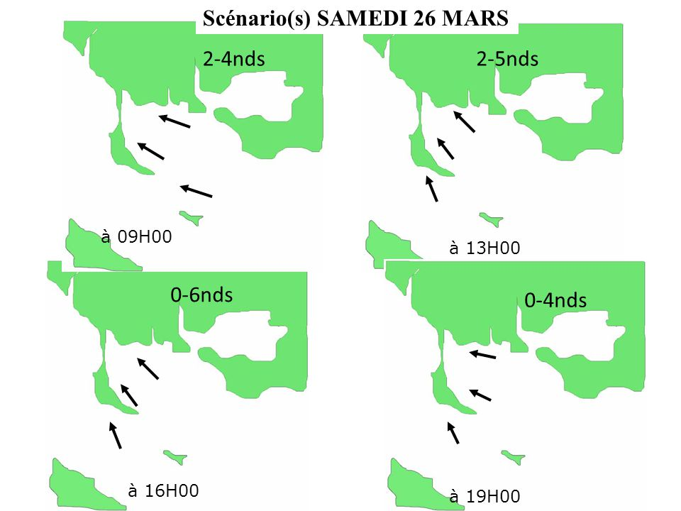 Scénario(s) SAMEDI 26 MARS 2-4nds à 16H00 à 09H00 à 13H00 à 19H00 0-4nds 2-5nds 0-6nds