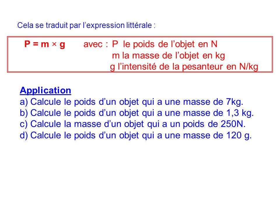 P = m × g avec : P le poids de l'objet en N m la masse de l'objet en kg g l'intensité de la pesanteur en N/kg Cela se traduit par l'expression littéra