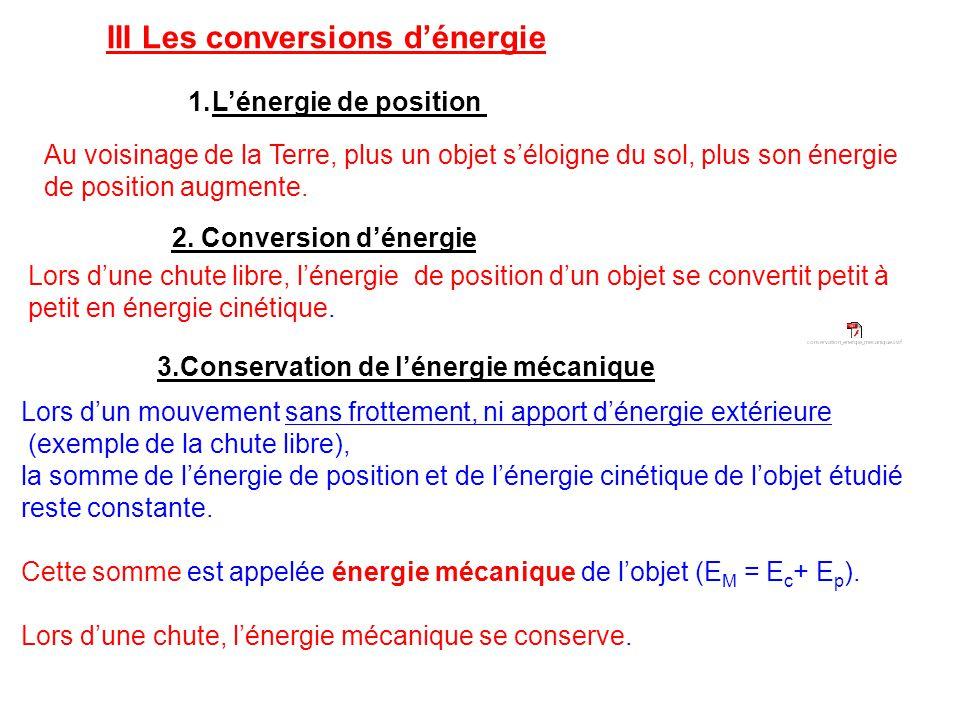 III Les conversions d'énergie 1.L'énergie de position Au voisinage de la Terre, plus un objet s'éloigne du sol, plus son énergie de position augmente.