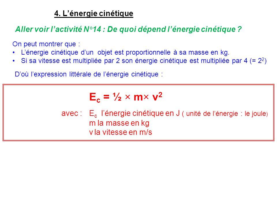 4. L'énergie cinétique Aller voir l'activité N°14 : De quoi dépend l'énergie cinétique ? On peut montrer que : L'énergie cinétique d'un objet est prop