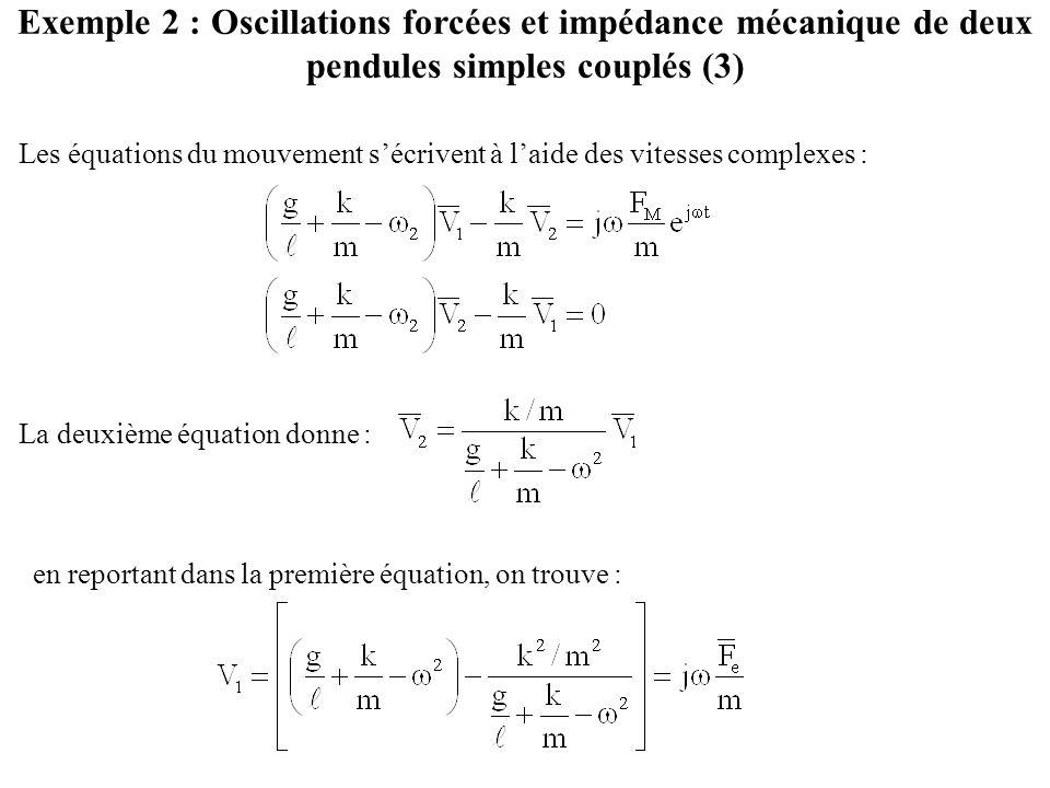 Exemple 2 : Oscillations forcées et impédance mécanique de deux pendules simples couplés (3) Les équations du mouvement s'écrivent à l'aide des vitesses complexes : La deuxième équation donne : en reportant dans la première équation, on trouve :