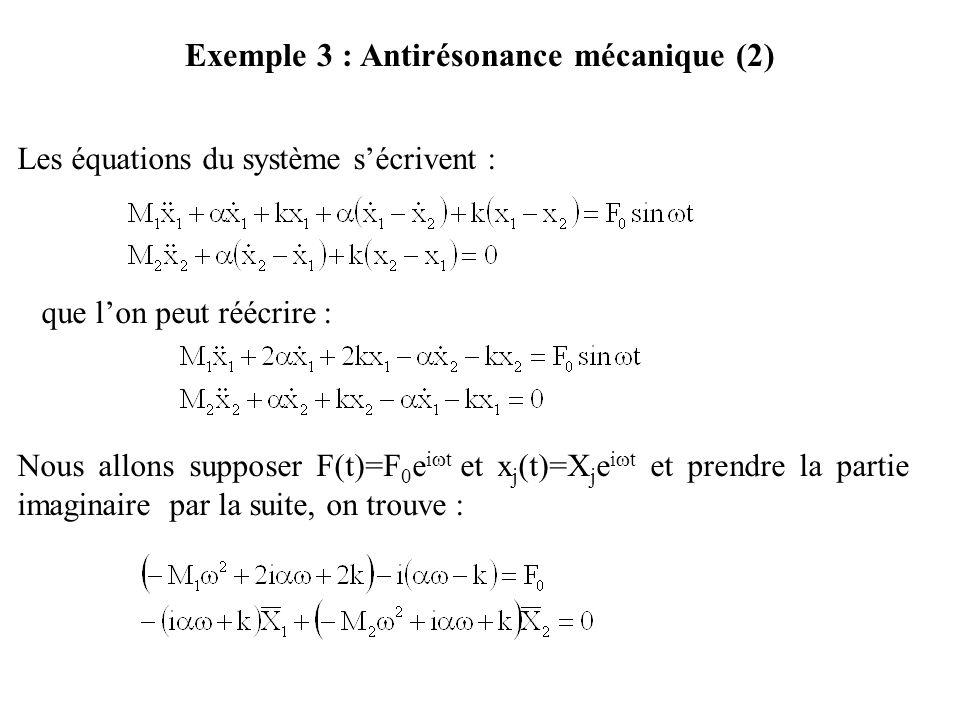 Exemple 3 : Antirésonance mécanique (2) Les équations du système s'écrivent : que l'on peut réécrire : Nous allons supposer F(t)=F 0 e i  t et x j (t)=X j e i  t et prendre la partie imaginaire par la suite, on trouve :