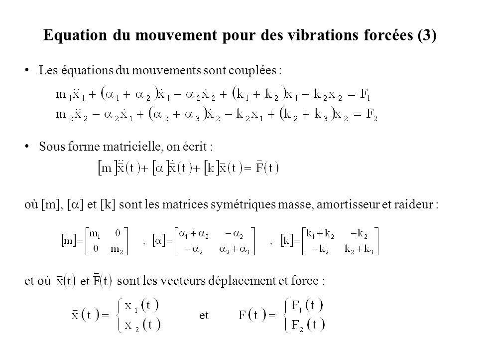 Equation du mouvement pour des vibrations forcées (3) Les équations du mouvements sont couplées : Sous forme matricielle, on écrit : où [m], [  ] et [k] sont les matrices symétriques masse, amortisseur et raideur : et où sont les vecteurs déplacement et force :