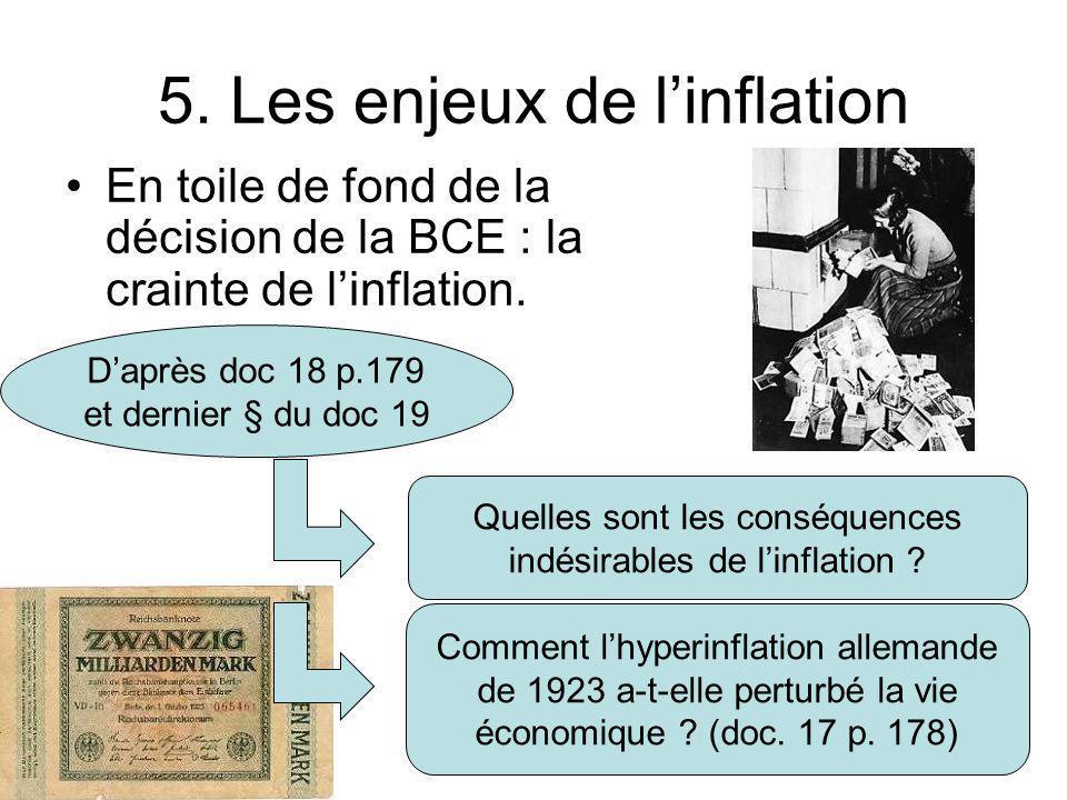5. Les enjeux de l'inflation En toile de fond de la décision de la BCE : la crainte de l'inflation. D'après doc 18 p.179 et dernier § du doc 19 Quelle