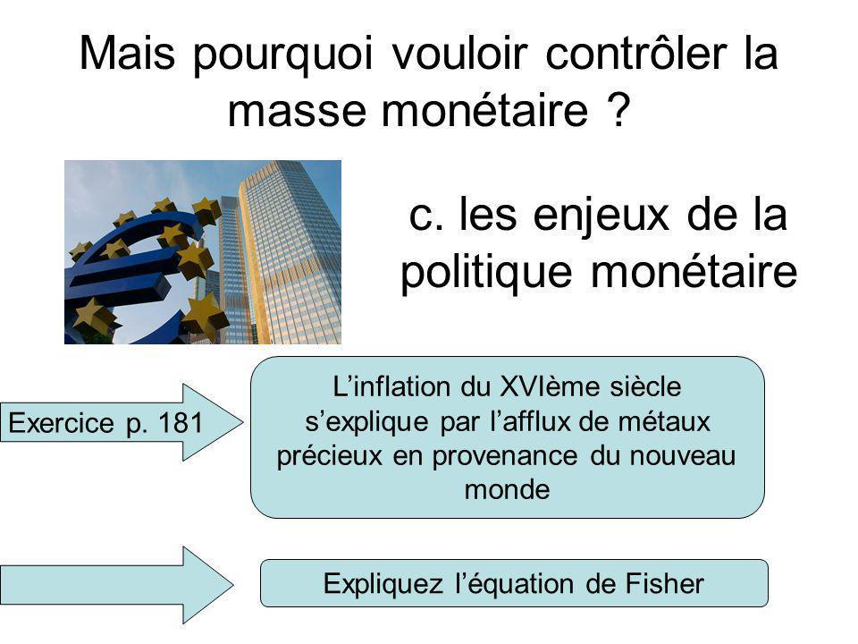 Mais pourquoi vouloir contrôler la masse monétaire ? c. les enjeux de la politique monétaire Exercice p. 181 Quelle est la thèse de Jean Bodin ? Expli