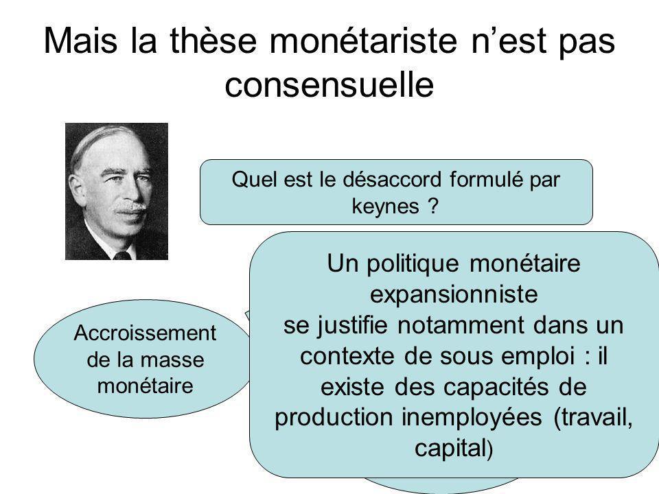 Mais la thèse monétariste n'est pas consensuelle Quel est le désaccord formulé par keynes ? Accroissement de la masse monétaire ? ? Inflation Accroiss