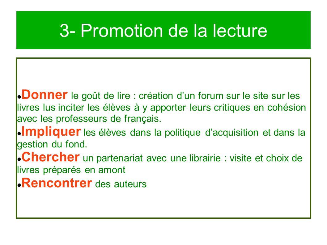 3- Promotion de la lecture Donner le goût de lire : création d'un forum sur le site sur les livres lus inciter les élèves à y apporter leurs critiques