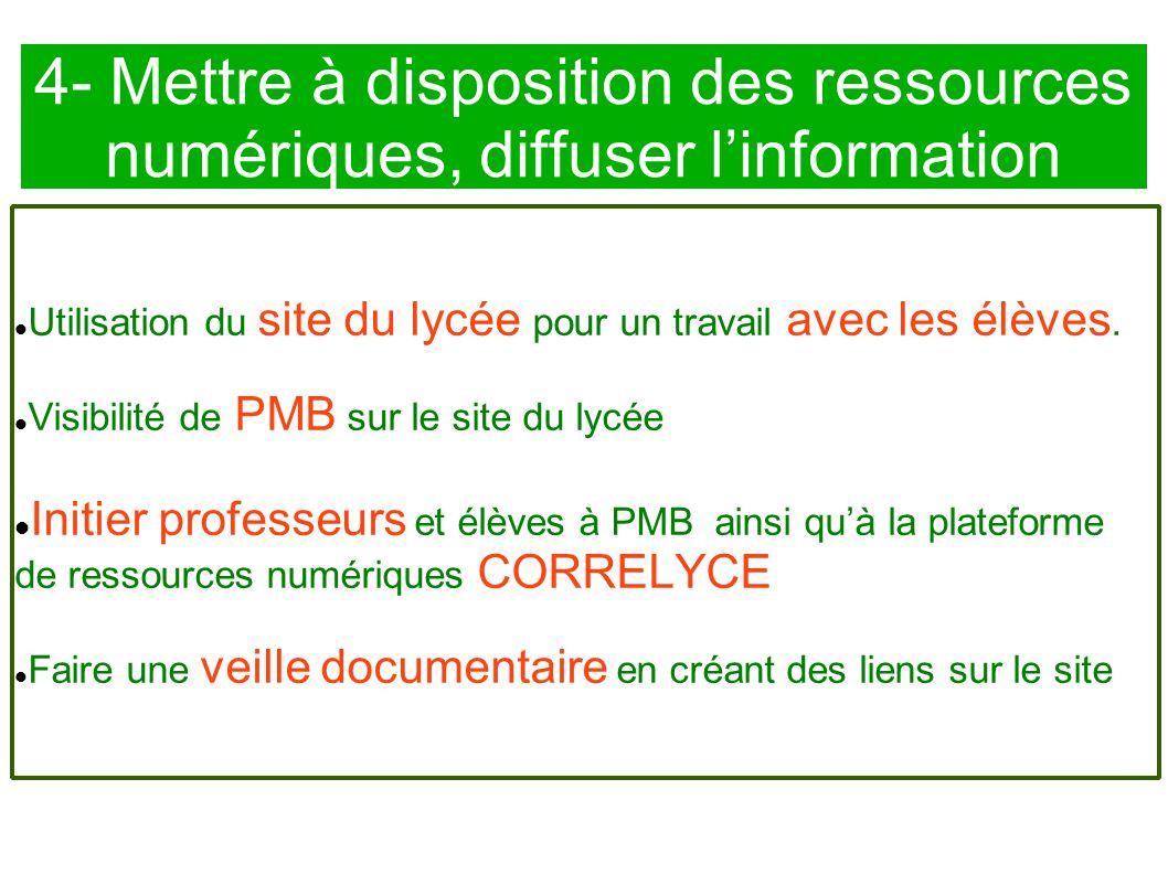 4- Mettre à disposition des ressources numériques, diffuser l'information Utilisation du site du lycée pour un travail avec les élèves. Visibilité de