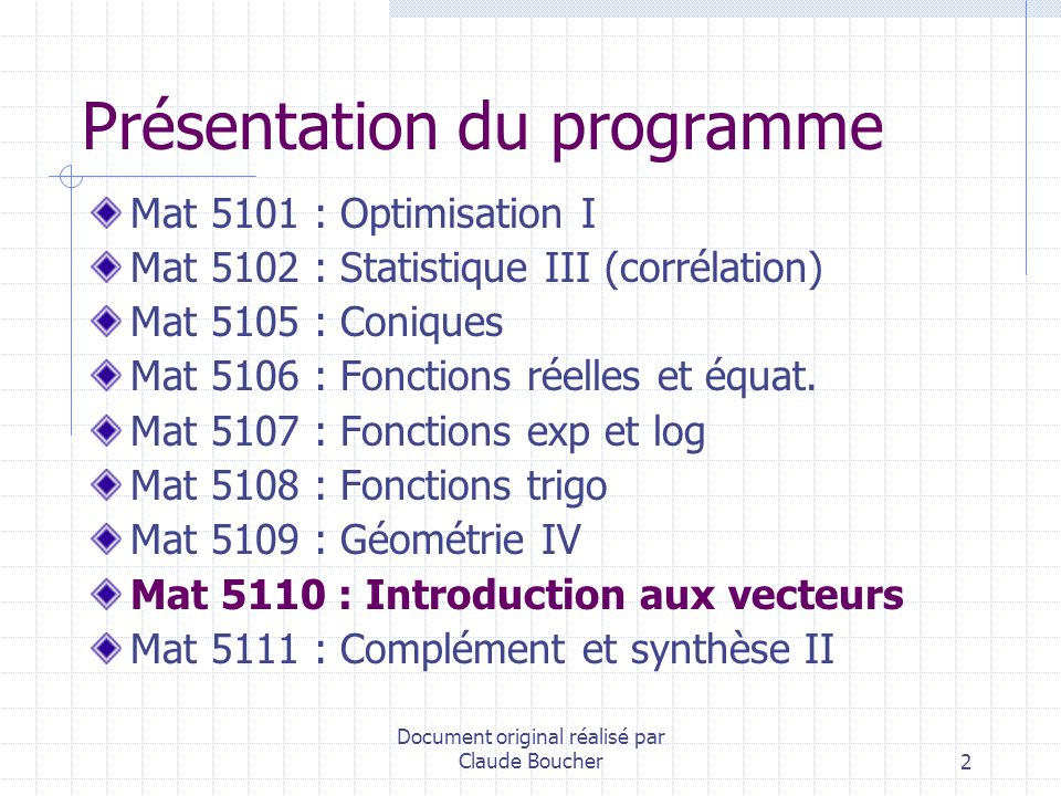 Document original réalisé par Claude Boucher3 Pourquoi les vecteurs en mathématique au secondaire.