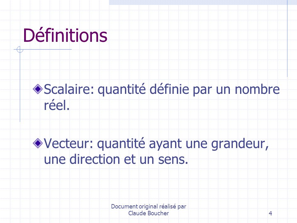 Document original réalisé par Claude Boucher25 Base vectorielle orthonormée Vecteurs orthogonaux et de norme 1.