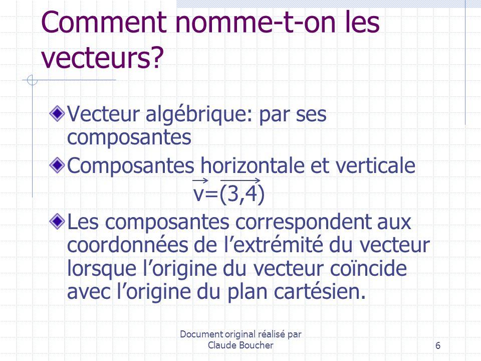 Document original réalisé par Claude Boucher27 Multiplication scalaire de 2 vecteurs Produit de la longueur orientée de la projection orthogonale du premier vecteur sur le deuxième par la norme du deuxième vecteur.