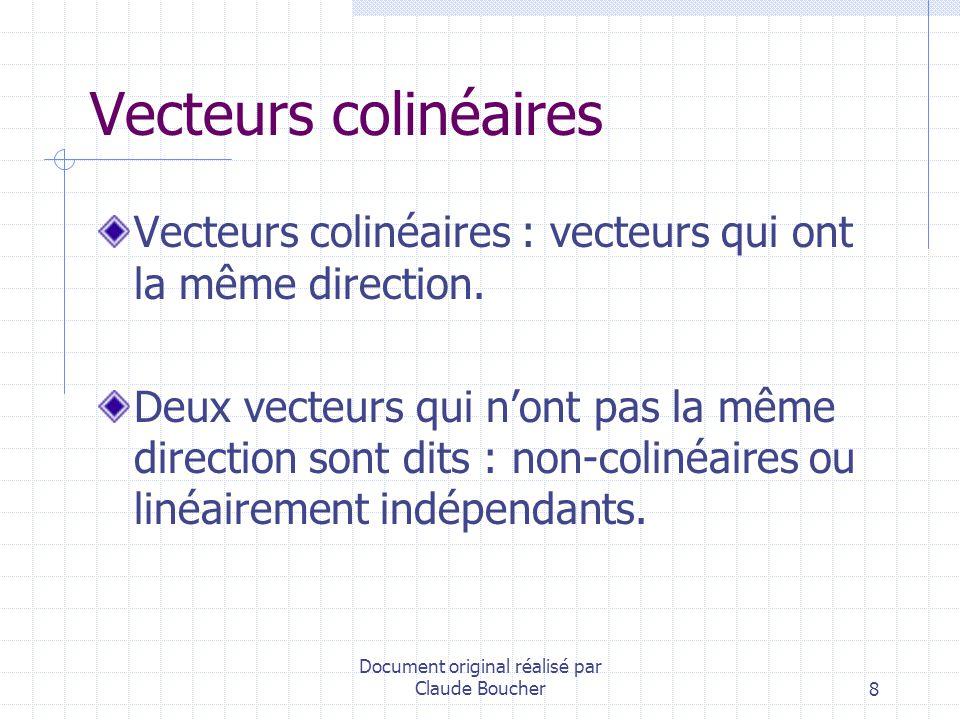 Document original réalisé par Claude Boucher19 Relation de Chasles AB + BC + CD = AD AB + BC + CA = AA = 0 AB – CB = AB + BC = AC