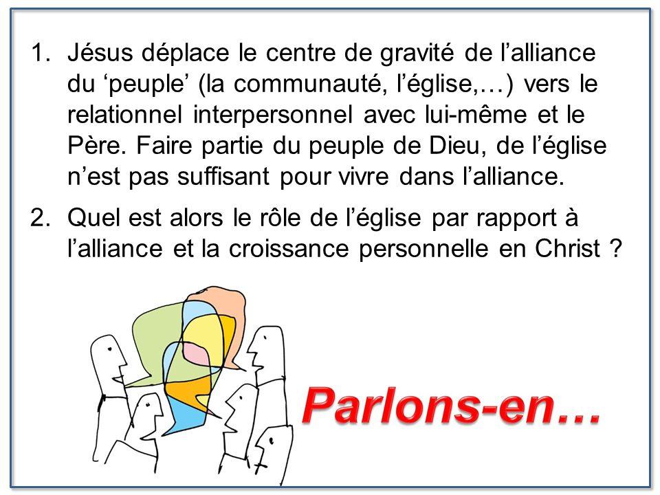 1.Jésus déplace le centre de gravité de l'alliance du 'peuple' (la communauté, l'église,…) vers le relationnel interpersonnel avec lui-même et le Père