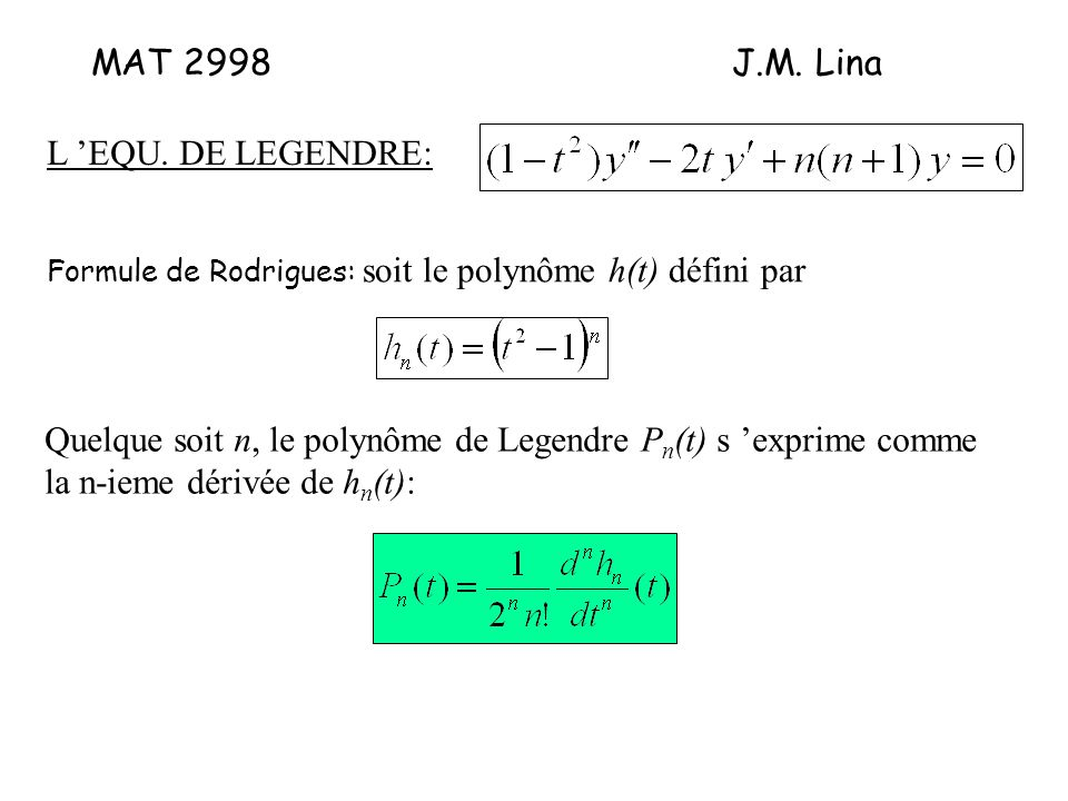 MAT 2998J.M. Lina L 'EQU.