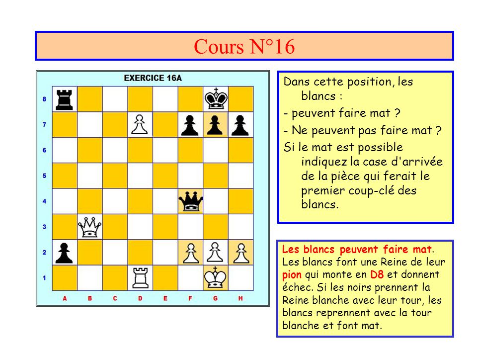 Cours N°16 Dans cette position, les blancs : - peuvent faire mat .