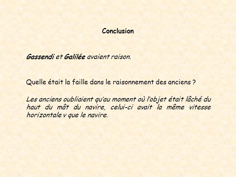 Gassendi et Galilée avaient raison. Conclusion Quelle était la faille dans le raisonnement des anciens ? Les anciens oubliaient qu'au moment où l'obje