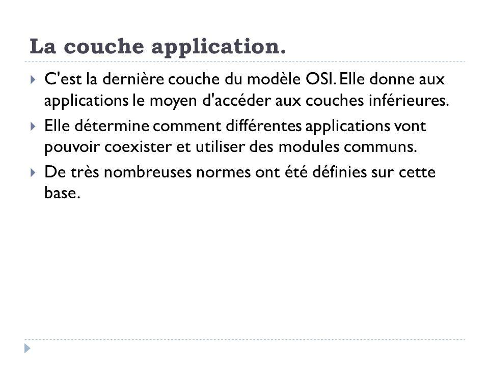 La couche application.  C'est la dernière couche du modèle OSI. Elle donne aux applications le moyen d'accéder aux couches inférieures.  Elle déterm