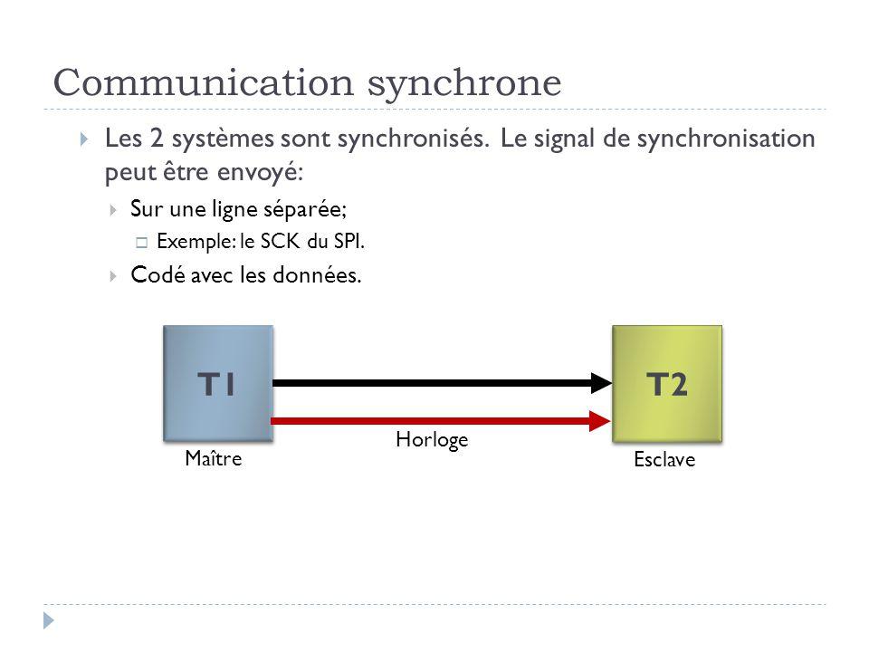 Communication synchrone  Les 2 systèmes sont synchronisés. Le signal de synchronisation peut être envoyé:  Sur une ligne séparée;  Exemple: le SCK