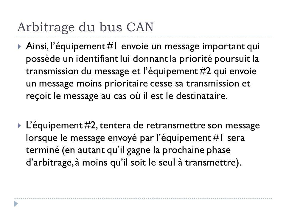 Arbitrage du bus CAN  Ainsi, l'équipement #1 envoie un message important qui possède un identifiant lui donnant la priorité poursuit la transmission