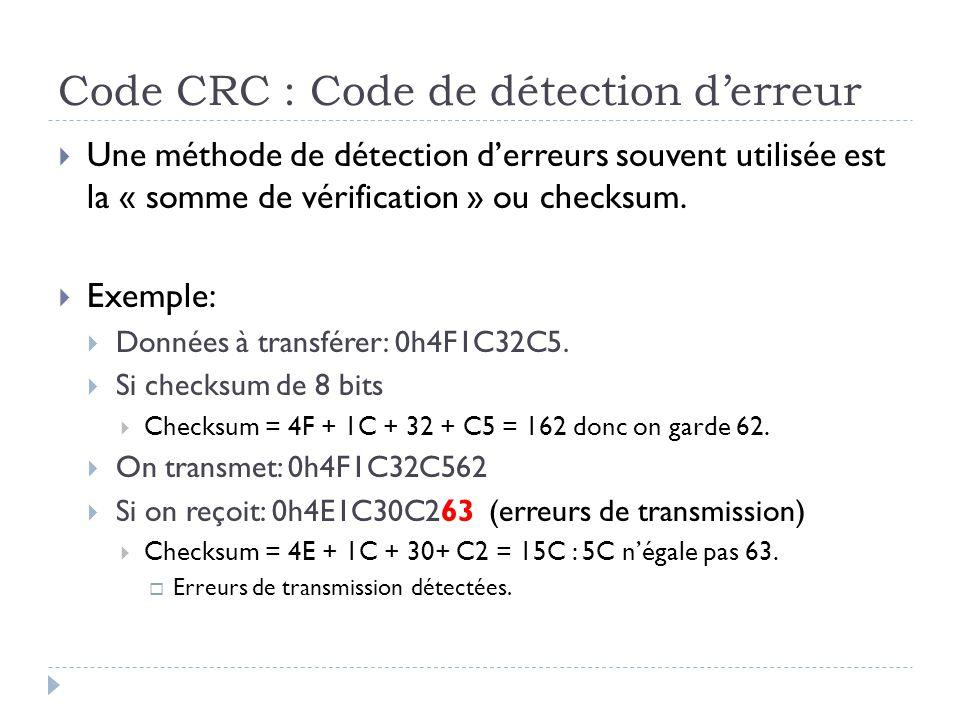 Code CRC : Code de détection d'erreur  Une méthode de détection d'erreurs souvent utilisée est la « somme de vérification » ou checksum.  Exemple: 
