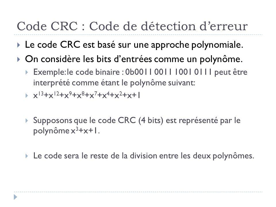 Code CRC : Code de détection d'erreur  Le code CRC est basé sur une approche polynomiale.  On considère les bits d'entrées comme un polynôme.  Exem