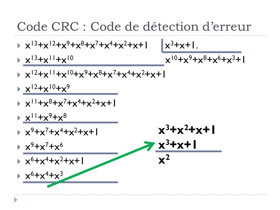Code CRC : Code de détection d'erreur  x 13 +x 12 +x 9 +x 8 +x 7 +x 4 +x 2 +x+1 x 3 +x+1.  x 13 +x 11 +x 10 x 10 +x 9 +x 8 +x 6 +x 3 +1  x 12 +x 11