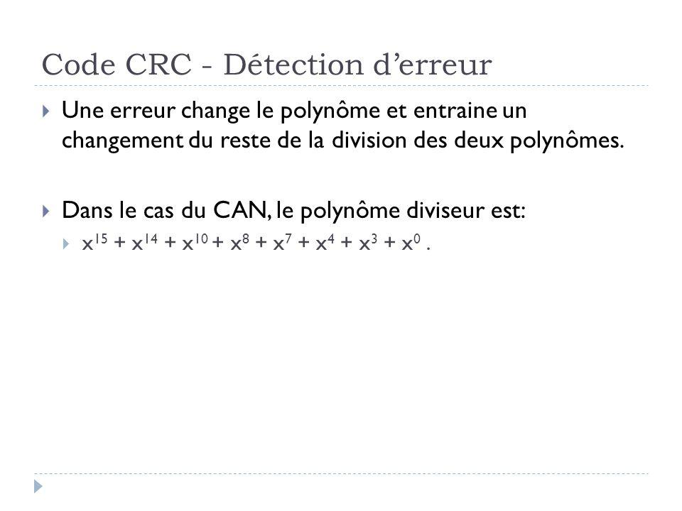 Code CRC - Détection d'erreur  Une erreur change le polynôme et entraine un changement du reste de la division des deux polynômes.  Dans le cas du C