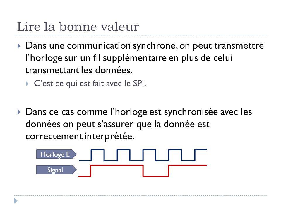 Lire la bonne valeur  Dans une communication synchrone, on peut transmettre l'horloge sur un fil supplémentaire en plus de celui transmettant les don