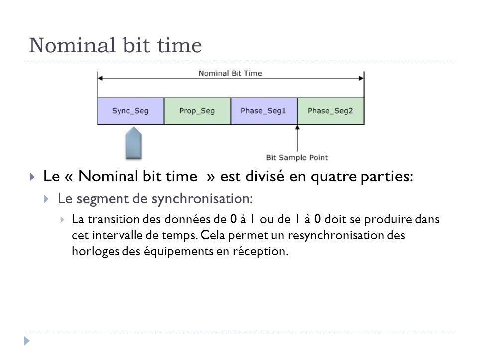 Nominal bit time  Le « Nominal bit time » est divisé en quatre parties:  Le segment de synchronisation:  La transition des données de 0 à 1 ou de 1