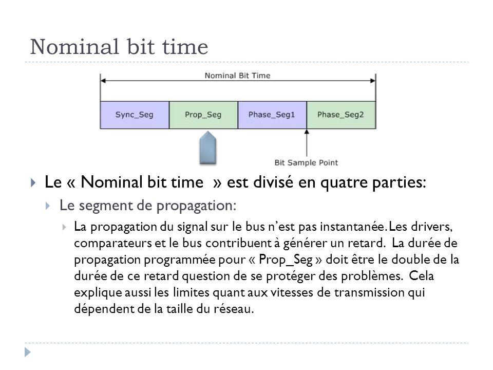 Nominal bit time  Le « Nominal bit time » est divisé en quatre parties:  Le segment de propagation:  La propagation du signal sur le bus n'est pas