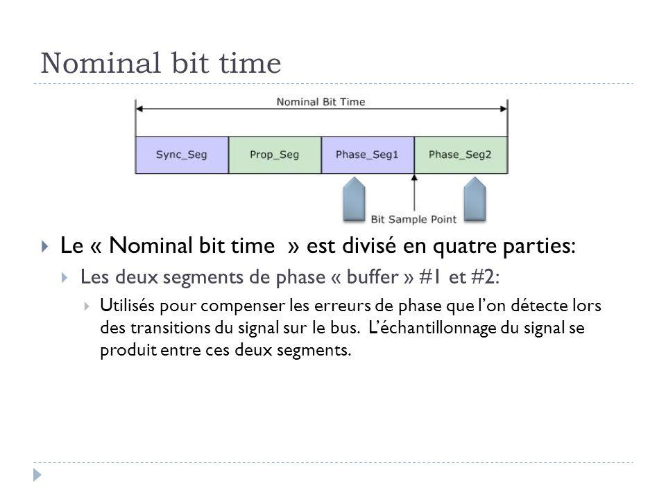 Nominal bit time  Le « Nominal bit time » est divisé en quatre parties:  Les deux segments de phase « buffer » #1 et #2:  Utilisés pour compenser l