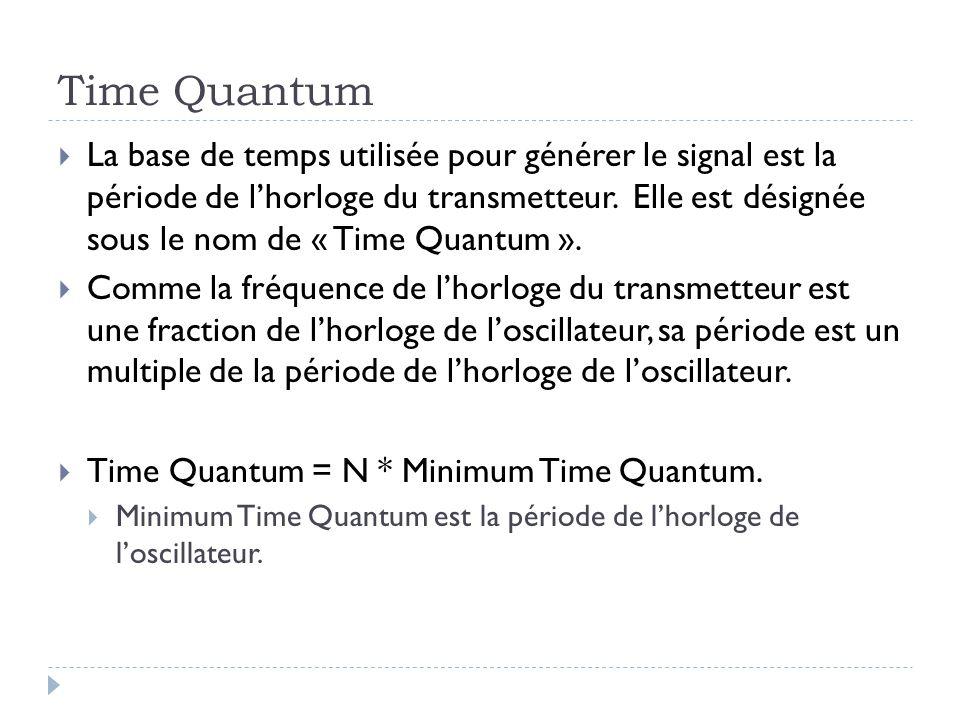 Time Quantum  La base de temps utilisée pour générer le signal est la période de l'horloge du transmetteur. Elle est désignée sous le nom de « Time Q