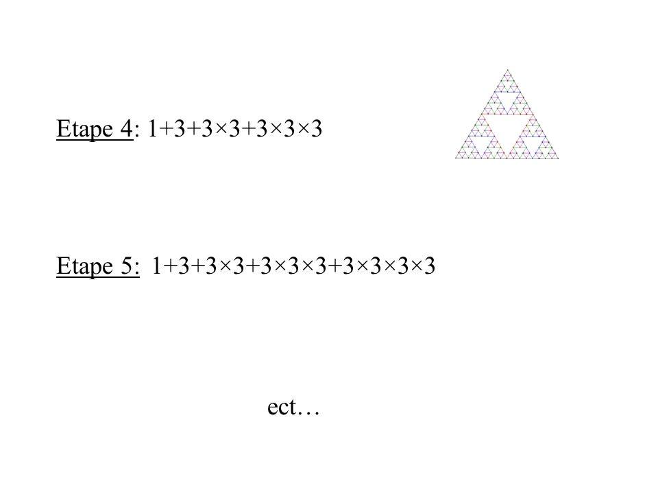 Etape 4: 1+3+3×3+3×3×3 Etape 5: 1+3+3×3+3×3×3+3×3×3×3 ect…