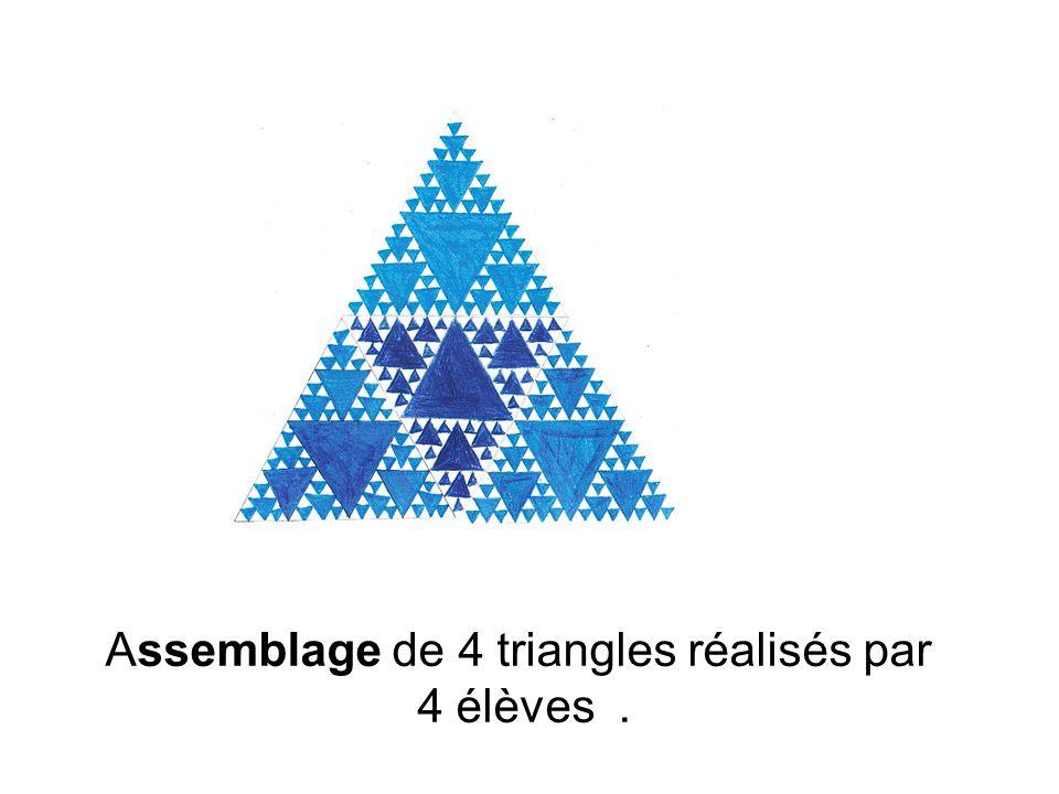 Assemblage de 4 triangles réalisés par 4 élèves.